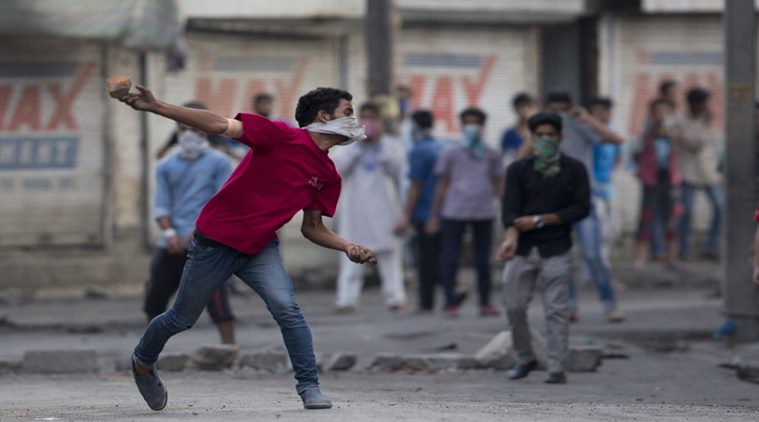 Protests and Stone Pelting: A Common sight in the Valley (Courtesy: Indian Express)